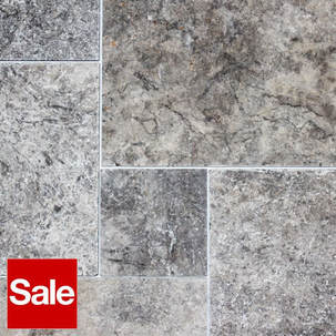 Travertine Tiles French Pattern Silver