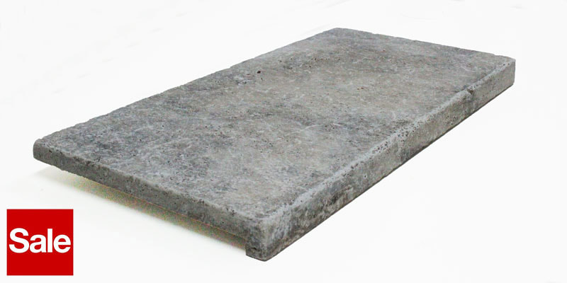 Travertine Dropface 4cm 610x406x20mm Silver